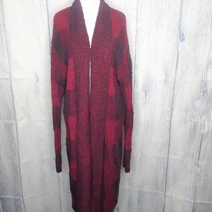 Lucky Brand Red Buffalo Plaid Duster, Cardigan